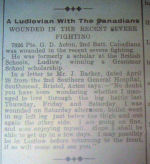 Newspaper Clipping– Newspaper cutting from the Bishop's Castle & Clun Advertiser,