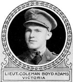 Photo of Coleman Adams– From: The Varsity Magazine Supplement published by The Students Administrative Council, University of Toronto 1918. 