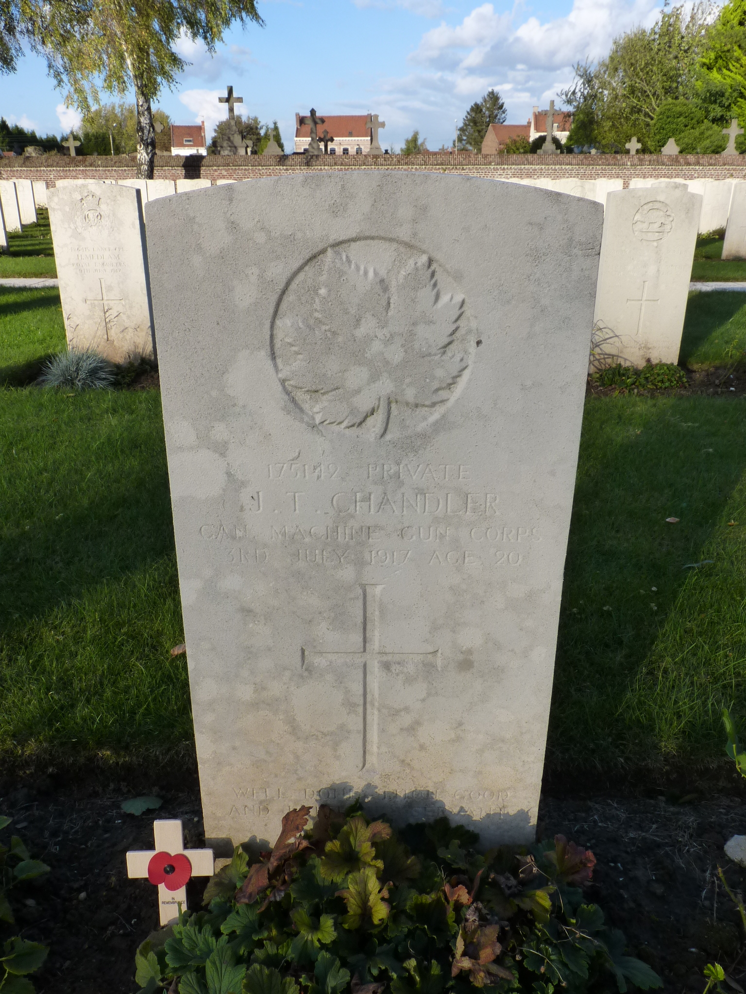 Grave marker– Grave photographed 23 October 2014 while on a trip to visit graves/memorials of former pupils at Framlingham College, Suffolk, England