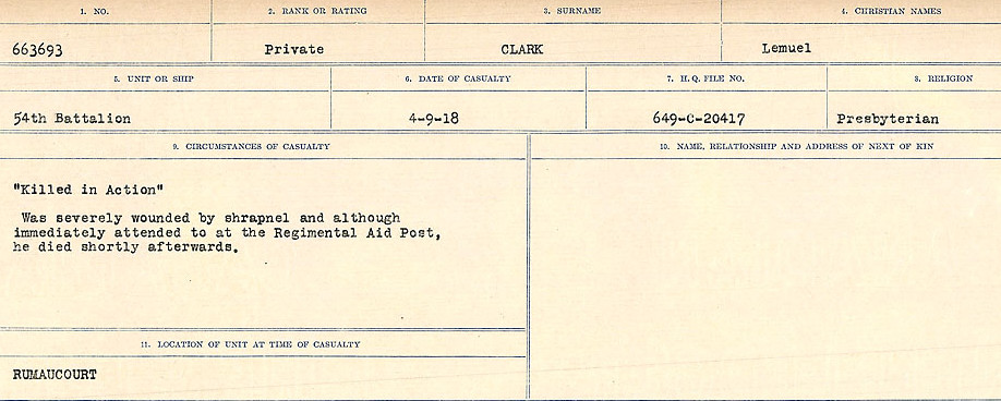 Circumstances of Death Registers– Source: Library and Archives Canada.  CIRCUMSTANCES OF DEATH REGISTERS, FIRST WORLD WAR Surnames:  CHILD TO CLAYTON.  Microform Sequence 20; Volume Number 31829_B016729. Reference RG150, 1992-93/314, 164.  Page 643 of 1068.
