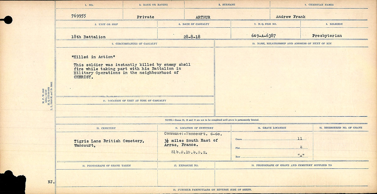 """Circumstances of Death Registers– Circumstances of Death Register: """"Killed in Action"""" This soldier was instantly killed by enemy shell fire while taking part with his battalion in the Military Operations in the neighbourhood of CHERISY."""