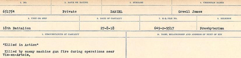 Circumstances of death registers– Source: Library and Archives Canada. CIRCUMSTANCES OF DEATH REGISTERS, FIRST WORLD WAR Surnames: Dack to Dabate. Microform Sequence 26; Volume Number 31829_B016735. Reference RG150, 1992-93/314, 170. Page 291 of 1140.