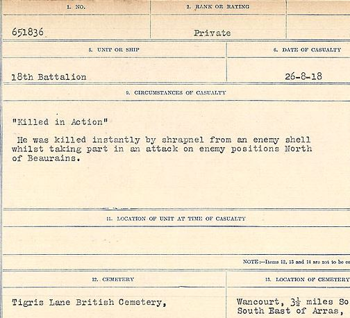 """Circumstances of death registers– """"Killed in Action"""" He was killed instantly by shrapnel from an enemy shell whilst taking part in an attack on enemy positions North of Beaurains.  Contributed by E.Edwards www.18thbattalioncef.wordpress.com"""
