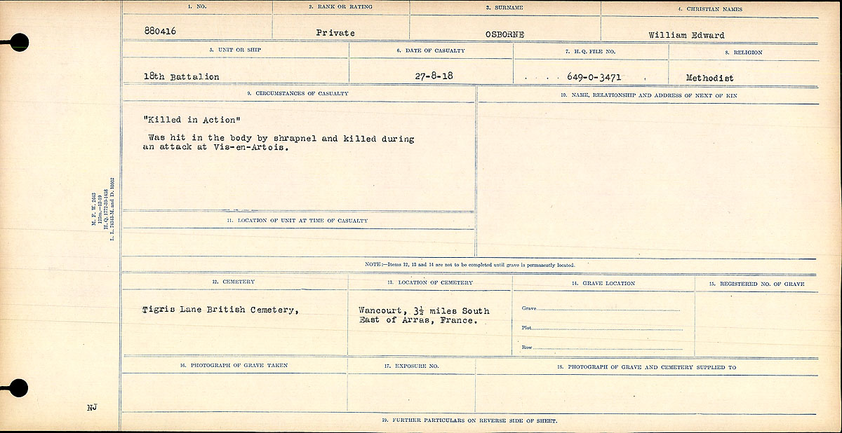"""Circumstances of Death Registers– """"Killed in Action"""" Was hit in the body by shrapnel and killed during the attack on Vis-en-Artois.  Contributed by E. Edwards, 18thbattalioncef.wordpress.com"""