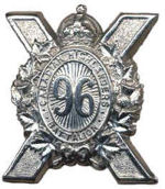 Cap Badge– Cap Badge 96th Bn (Canadian Higthlanders).  Private Hedberg was originally a member of the 96th Bn before being transferred to the 15th Bn as a reinforcement.  Submitted by Capt VR Goldman, 15th Bn Memorial Project.  DILEAS GU BRATH