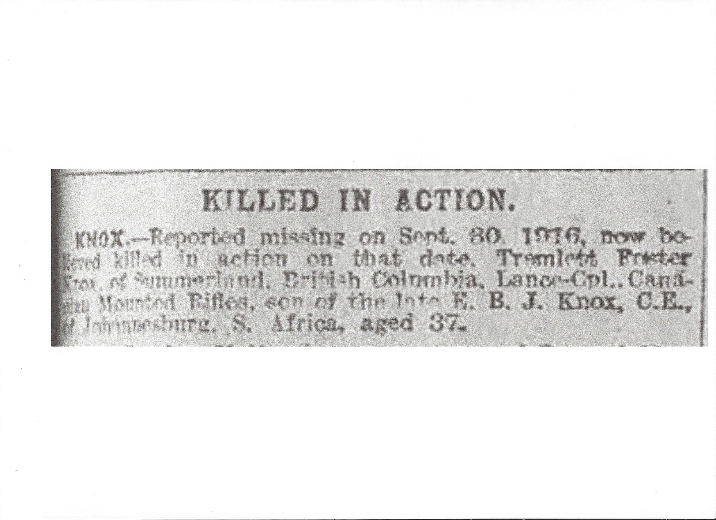 Newspaper clipping– Newspaper clipping from the Daily Telegraph of November 13, 1917. Image taken from web address of http://www.telegraph.co.uk/news/ww1-archive/12214938/Daily-Telegraph-November-13-1917.html