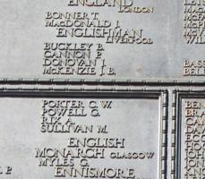Memorial– His name as it is inscribed on the Tower Hill Memorial. The 480 fallen Canadians lost at sea, are honoured on this Memorial. May they never be forgotten. (J. Stephens)