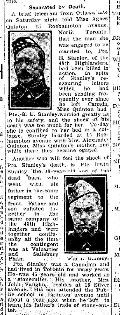 Coupre de presse – Tiré du Toronto Star du 29 mars 1915.