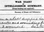 War Diary– Seven men were killed when a shell dropped during the evening of September 5th, 1918 in the lines of the 1st Canadian Divisional Ammunition Column.  All were buried the following day on September 6th.  Original War Diary entry.  The men killed were:  Dvr. Joseph Audette, 40768; Dvr. John Alexander Cardinal, 345126; Dvr. John Cliffe, 92915; Dvr. Reginald Frank Davey, 304113; Corporal Eaton Andrew Kitching, 86113; Dvr. David Simpson, 42740; and Dvr. Harold Alphonse Smith, 349023.  A letter detailing these events can be found on the record for Dvr. Harold Alphonse Smith (Canadian Virtual Memorial).