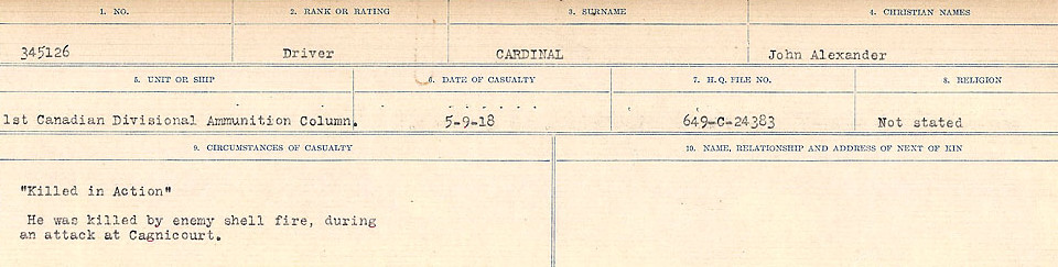 Circumstances of Death Registers– Source: Library and Archives Canada.  CIRCUMSTANCES OF DEATH REGISTERS, FIRST WORLD WAR Surnames:  Canavan to Caswell. Microform Sequence 18; Volume Number 31829_B016727. Reference RG150, 1992-93/314, 162.  Page 157 of 1004.
