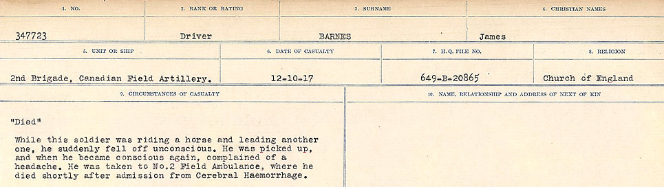 Circumstances of Death– Source: Library and Archives Canada.  CIRCUMSTANCES OF DEATH REGISTERS, FIRST WORLD WAR Surnames:  Bark to Bazinet. Mircoform Sequence 6; Volume Number 31829_B016716. Reference RG150, 1992-93/314, 150.  Page 213 of 1058.