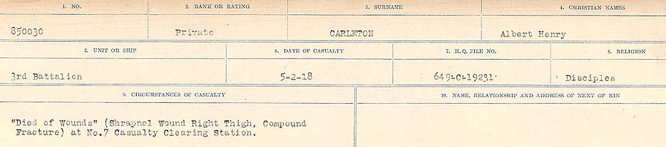 Circumstances of Death Registers– Source: Library and Archives Canada.  CIRCUMSTANCES OF DEATH REGISTERS, FIRST WORLD WAR Surnames:  Canavan to Caswell. Microform Sequence 18; Volume Number 31829_B016727. Reference RG150, 1992-93/314, 162.  Page 225 of 1004.