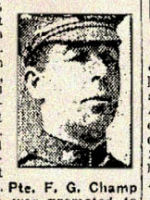 Newspaper Clipping– Lance Corporal Frederick George Champ enlisted in Toronto in the 123rd Battalion C.E.F. Royal Grenadiers in November 1915.