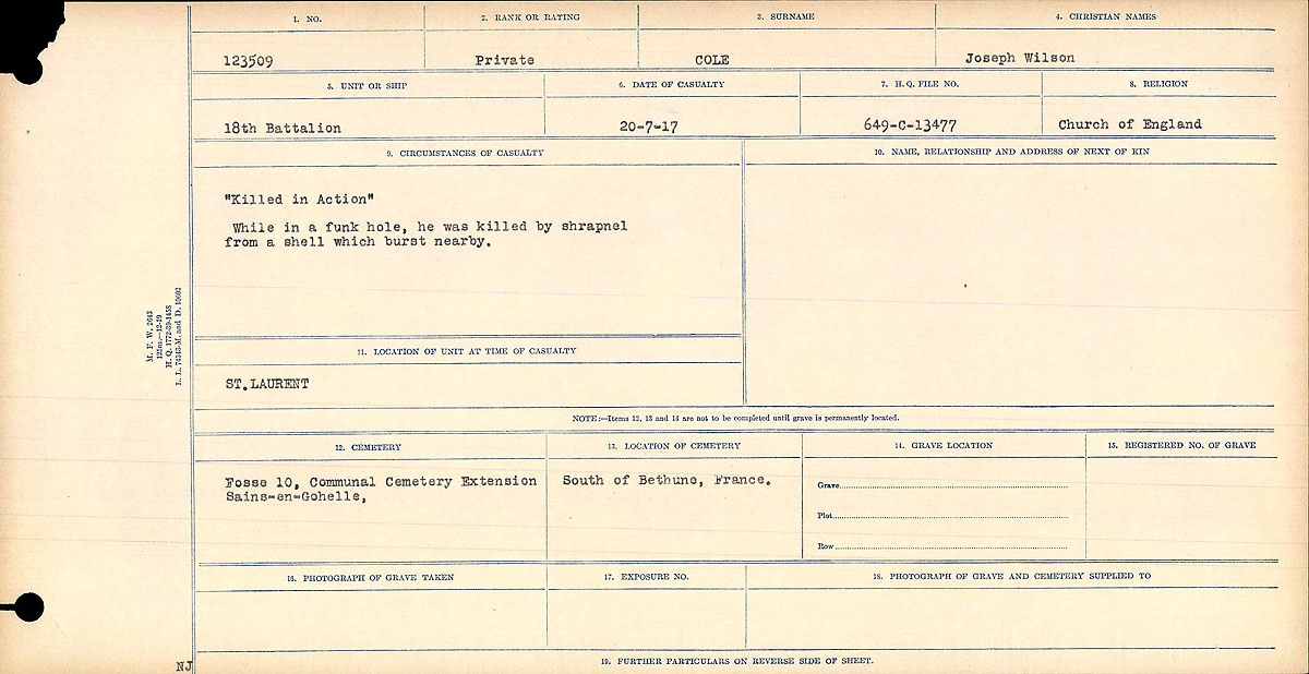 """Circumstances of Death Registers– Circumstances of Death Card: """"Killed in Action"""" While in a funk hole, he was killed by shrapnel from a shell which burst nearby.  Contributed by E.Edwards www.18thbattalioncef.wordpress.com"""