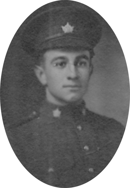 Photo of GEORGE RICHARD COOK– From a collage photo layout of members of A Company and the bugle band of the 157th Canadian Infantry Battalion.