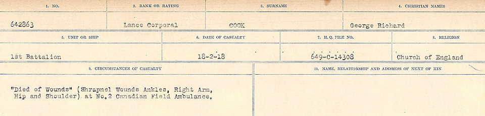 Circumstances of Death Registers– Source: Library and Archives Canada.  CIRCUMSTANCES OF DEATH REGISTERS, FIRST WORLD WAR Surnames:  CONNON TO CORBETT.  Microform Sequence 22; Volume Number 31829_B016731. Reference RG150, 1992-93/314, 166.  Page 229 of 818.