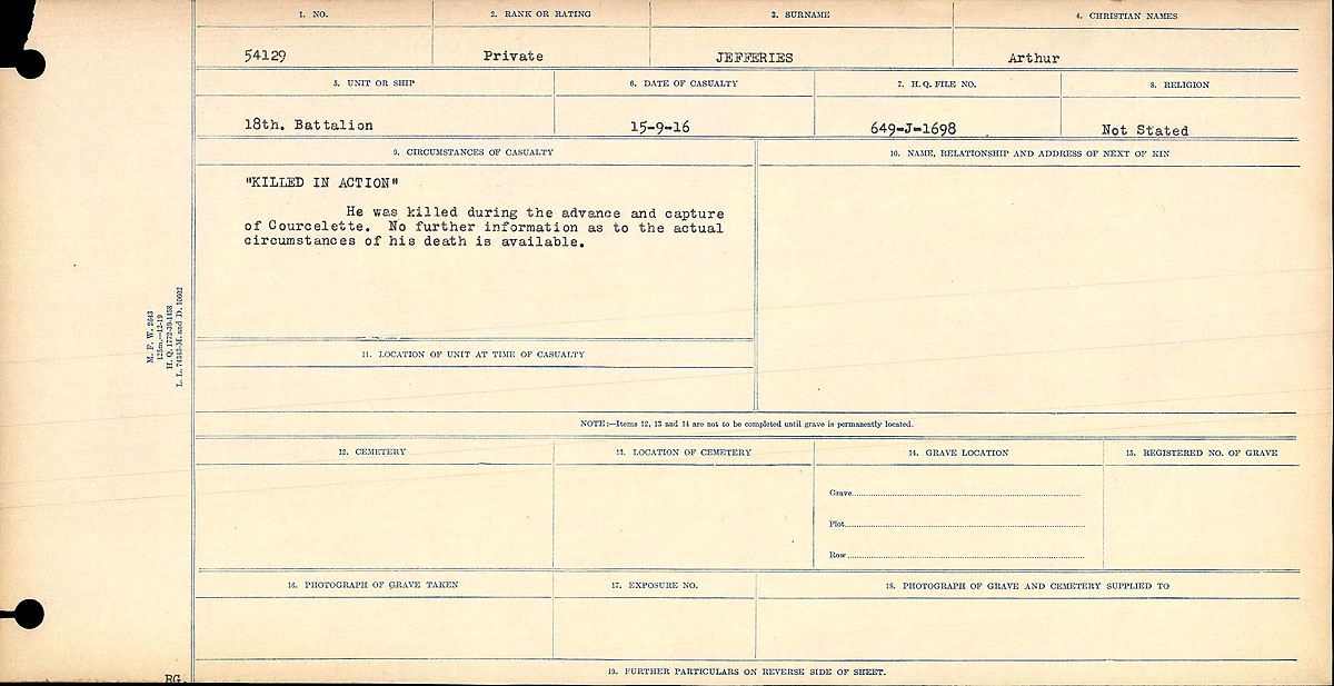"""Circumstances of Death Registers– """"Died of Wounds."""" (Gunshot wound, multiple.) At No. 6 Canadian Field Ambulance."""