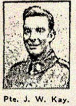 Newspaper Clipping– Pte. Joseph Washington Kay enlisted in Toronto in the 124th (Pals) Battalion C.E.F. in December 1915.  In honoured memory.
