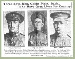 Newspaper Clipping– Pte. William Day Newman is shown on the left in this tribute to the men of Golden Plain, Saskatchewan.