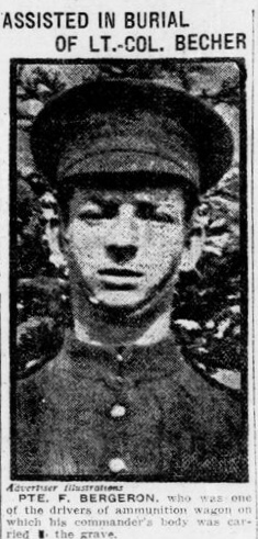 Newspaper clipping– Henry Becher mentioned in article. In memory of the men and women of London, Ontario (and area) who went to war and did not come home. Remembered on the pages of the World War One issues of the London Advertiser. Submitted for the project Operation Picture Me