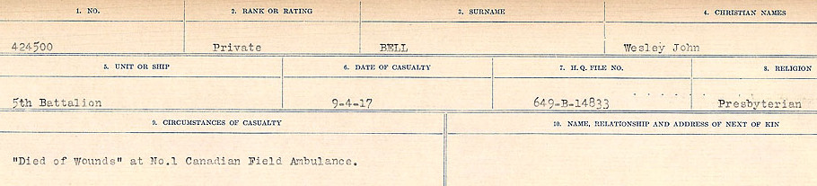 Circumstances of Death Registers– Source: Library and Archives Canada.  CIRCUMSTANCES OF DEATH REGISTERS FIRST WORLD WAR Surnames:  Bell to Bernaquez.  Mircoform Sequence 8; Volume Number 31829_B016718; Reference RG150, 1992-93/314, 152 Page 205 of 670.