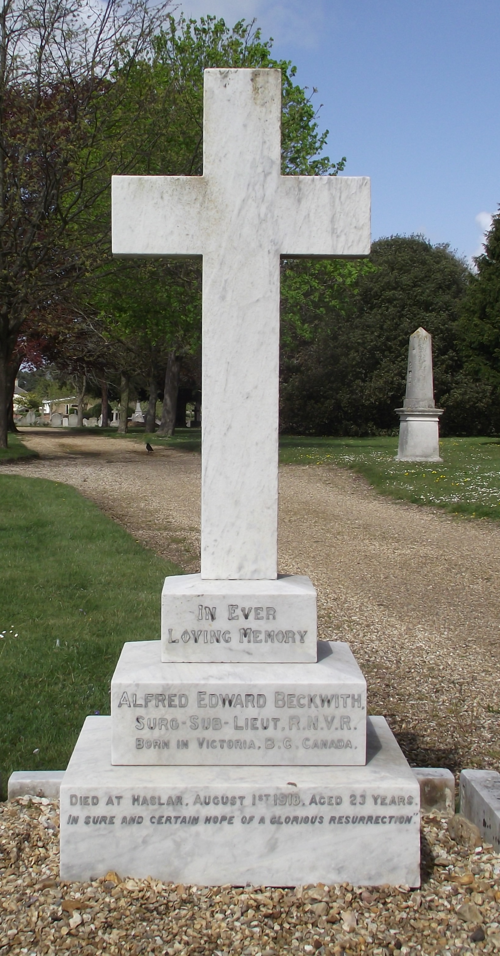 Grave Marker– Final resting place of Alfred Beckwith. Photo courtesy of Frank Grant, volunteer photographer for Find a Grave.
