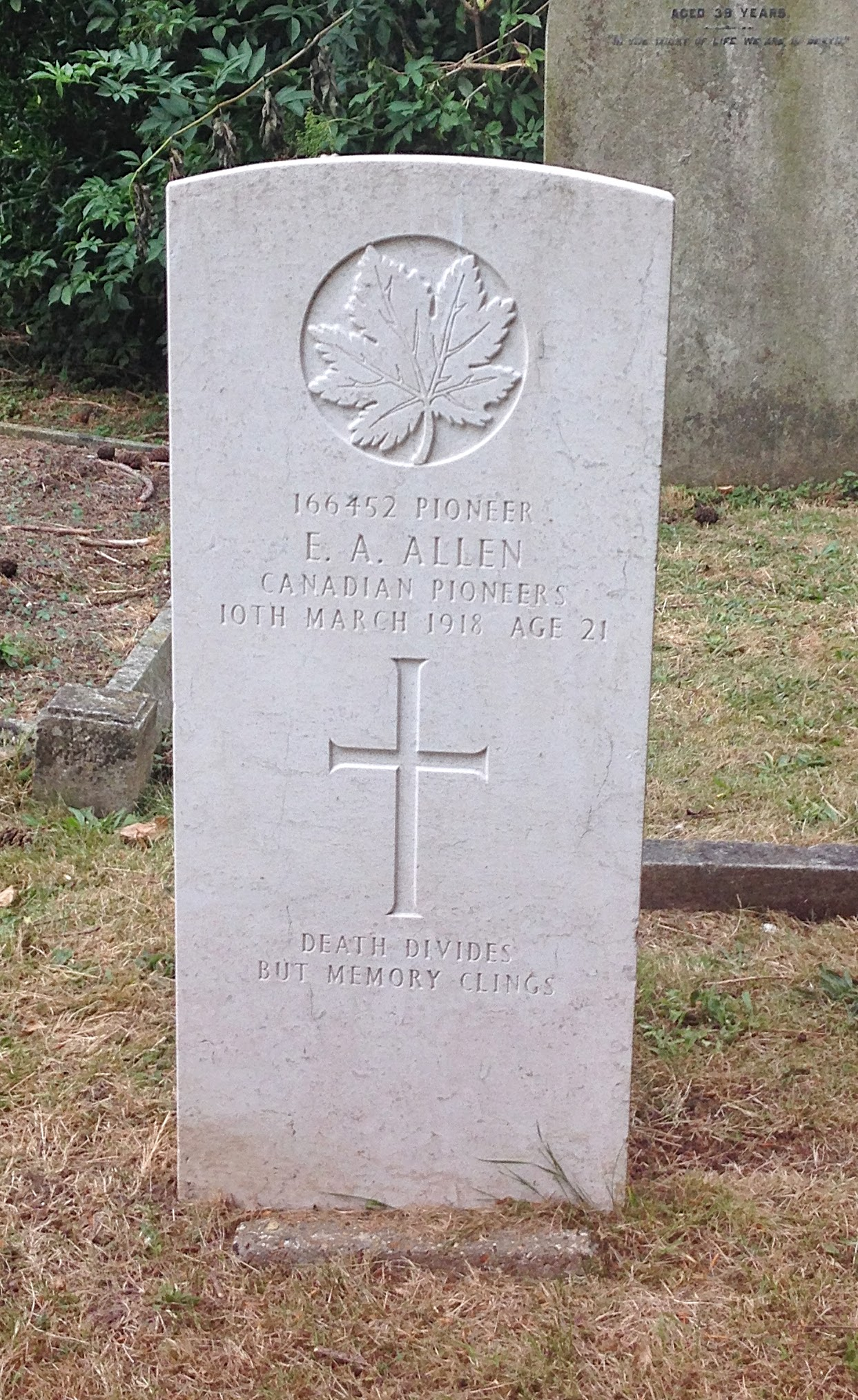 Grave Marker– A new headstone erected in 2014 in honor of Private E A Allen.   (photo taken July 5, 2014)