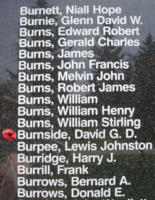 Memorial– Sergeant David George Davidson Burnside is also commemorated on the Bomber Command Memorial Wall in Nanton, AB … photo courtesy of Marg Liessens
