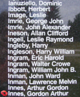 Memorial– Flight Sergeant Gordon Arthur Innes is also commemorated on the Bomber Command Memorial Wall in Nanton, AB … photo courtesy of Marg Liessens
