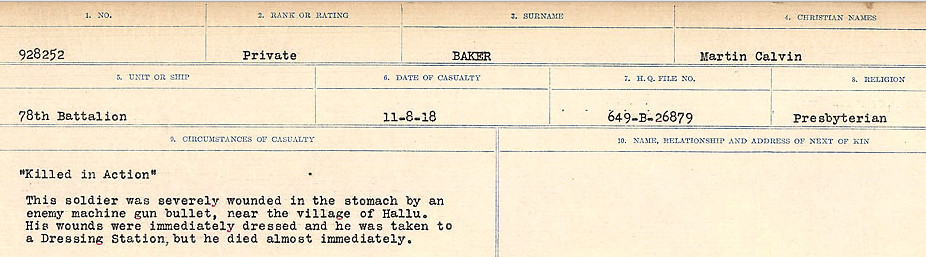 Circumstances of Death Registers– Source: Library and Archives Canada.  CIRCUMSANCES OF DEATH REGISTERS, FIRST WORLD WAR Surnames:  Babb to Barjarow. Microform Sequence 5; Volume Number 31829_B016715. Reference RG150, 1992-93/314, 149.  Page 511 of 1072.