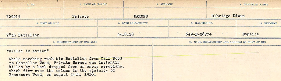 Circumstances of Death– Source: Library and Archives Canada.  CIRCUMSTANCES OF DEATH REGISTERS, FIRST WORLD WAR Surnames:  Bark to Bazinet. Mircoform Sequence 6; Volume Number 31829_B016716. Reference RG150, 1992-93/314, 150.  Page 185 of 1058.