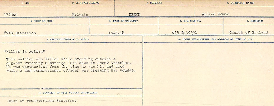 Circumstances of Death Registers– Source: Library and Archives Canada.  CIRCUMSTANCES OF DEATH REGISTERS FIRST WORLD WAR Surnames:  Bea to Belisle. Mircoform Sequence 7; Volume Number 31829_B016717. Reference RG150, 1992-93/314, 151.  Page 525 of 724.