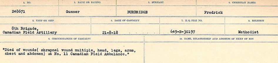 Circumstances of Death Registers– Source: Library and Archives Canada.  CIRCUMSTANCES OF DEATH REGISTERS, FIRST WORLD WAR Surnames:  Burbank to Bytheway. Microform Sequence 16; Volume Number 31829_B016725. Reference RG150, 1992-93/314, 160.  Page 9 of 926.