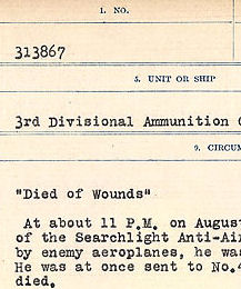 Circumstances of Death Registers– Source: Library and Archives Canada.  CIRCUMSTANCES OF DEATH REGISTERS, FIRST WORLD WAR Surnames:  CONNON TO CORBETT.  Microform Sequence 22; Volume Number 31829_B016731. Reference RG150, 1992-93/314, 166.  Page 595 of 818.
