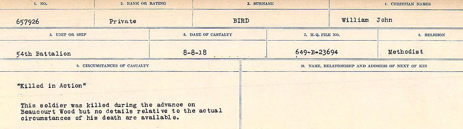 Circumstances of Death Registers– Source: Library and Archives Canada.  CIRCUMSTANCES OF DEATH REGISTERS FIRST WORLD WAR Surnames: Birch to Blakstad. Mircoform Sequence 10; Volume Number 31829_B034746; Reference RG150, 1992-93/314, 154 Page 93 of 734