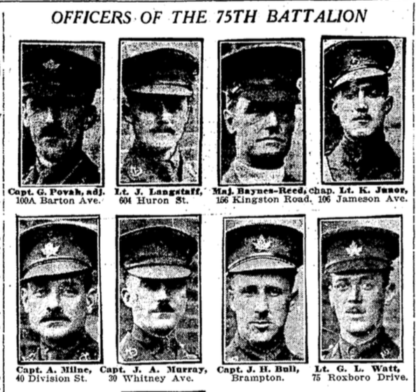 Newspaper Clipping– The dead of the 75th Battalion : Canadian Expeditionary Force