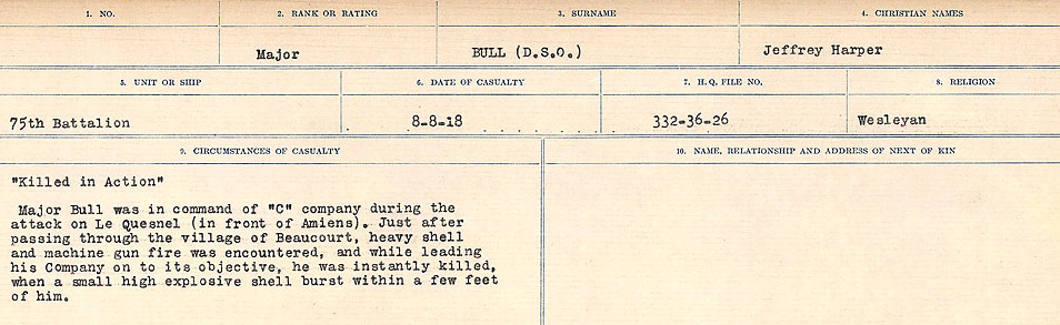 Death Registry– Source: Library and Archives Canada.  CIRCUMSTANCES OF DEATH REGISTERS FIRST WORLD WAR Surnames: Brubacher to Bunyan. Mircoform Sequence 15; Volume Number 31829_B016724; Reference RG150, 1992-93/314, 159 Page 521 of 668
