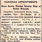Newspaper Clipping– Memorial Notice indicating Second Lieutenant Walter M. Billman was a Rhodes Scholar.