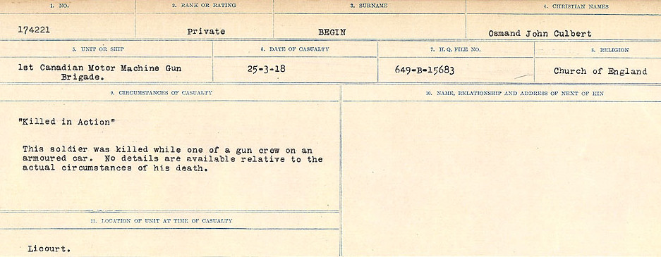 Circumstances of Death Registers– Source: Library and Archives Canada.  CIRCUMSTANCES OF DEATH REGISTERS FIRST WORLD WAR Surnames:  Bea to Belisle. Mircoform Sequence 7; Volume Number 31829_B016717. Reference RG150, 1992-93/314, 151.  Page 597 of 724.
