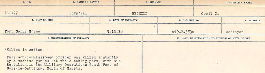 Circumstances of Death Registers– Source: Library and Archives Canada.  CIRCUMSTANCES OF DEATH REGISTERS FIRST WORLD WAR Surnames:  Bea to Belisle. Mircoform Sequence 7; Volume Number 31829_B016717. Reference RG150, 1992-93/314, 151.  Page 381 of 724.