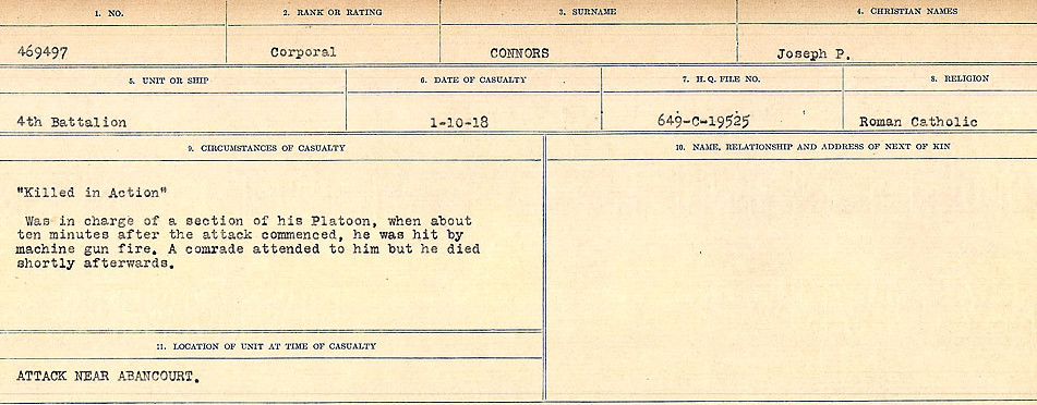 Circumstances of Death Registers– Source: Library and Archives Canada.  CIRCUMSTANCES OF DEATH REGISTERS, FIRST WORLD WAR Surnames:  CONNON TO CORBETT.  Microform Sequence 22; Volume Number 31829_B016731. Reference RG150, 1992-93/314, 166.  Page 41 of 818. Exhumed from Epinoy Chapel British Cemetery and re-interred in NAVES COMMUNAL CEMETERY EXTENTION.