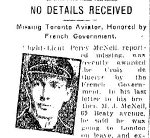 Newspaper Clipping– Clipping from the Toronto Star for 6 June 1917 referring to the fact that Percy McNeil had been awarded the Croix de Guerre by the French Government.