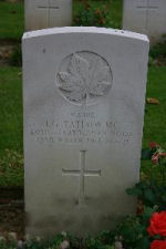 """Grave Marker– 1011 Major John Garnett Tatlow MC (RMC 1914) was the son of Elizabeth M. Tatlow, of 3689, Cartier Av., Vancouver, British Columbia, and the late R.G. Tatlow. (Finance Minister of British Columbia.). He served with the Lord Strathcona's Horse (Royal Canadians), R.C.A.C., """"A"""" Sqdn. He died on 23 Mar 1918 at 21 years of age. He was buried in the Chauny Communal Cemetery British Extension in Aisne, France."""