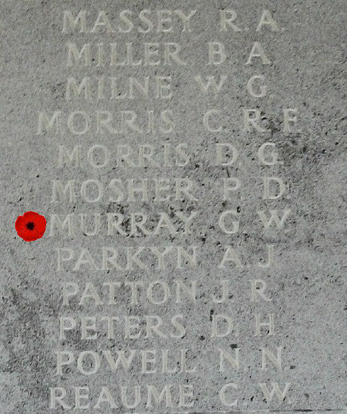 Memorial– Inscription - Pilot Officer Gerald Weyman Murray is also commemorated on the Runnymede Memorial, Surrey, UK - April 2017 … photo courtesy of Marg Liessens