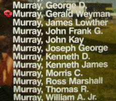 Memorial– Pilot Officer Gerald Weyman Murray is also commemorated on the Bomber Command Memorial Wall in Nanton, AB … photo courtesy of Marg Liessens