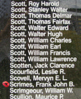 Memorial– Flight Sergeant Frank John Barnes Scrimes is commemorated on the Bomber Command Memorial Wall in Nanton, AB … photo courtesy of Marg Liessens