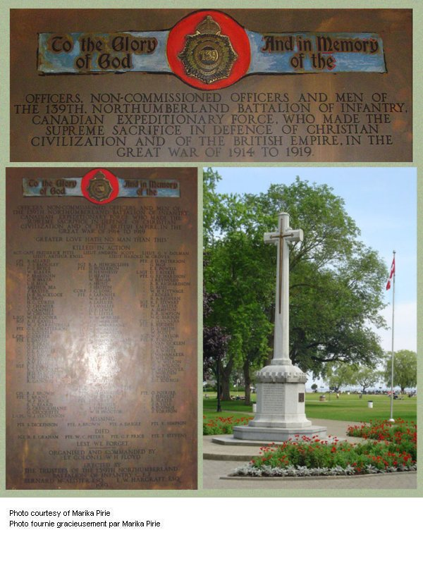 139th Battalion (Northumberland County) War Memorial plaque