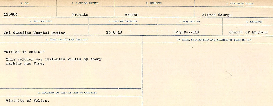 Circumstances of Death– Source: Library and Archives Canada.  CIRCUMSTANCES OF DEATH REGISTERS, FIRST WORLD WAR Surnames:  Bark to Bazinet. Mircoform Sequence 6; Volume Number 31829_B016716. Reference RG150, 1992-93/314, 150.  Page 169 of 1058.