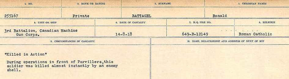 Circumstances of Death Registers– Source: Library and Archives Canada.  CIRCUMSTANCES OF DEATH REGISTERS, FIRST WORLD WAR Surnames:  Bark to Bazinet. Mircoform Sequence 6; Volume Number 31829_B016716. Reference RG150, 1992-93/314, 150.  Page 891 of 1058.