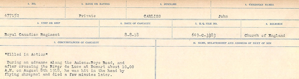 Circumstances of Death Registers– Source: Library and Archives Canada.  CIRCUMSTANCES OF DEATH REGISTERS, FIRST WORLD WAR Surnames:  Canavan to Caswell. Microform Sequence 18; Volume Number 31829_B016727. Reference RG150, 1992-93/314, 162.  Page 257 of 1004.